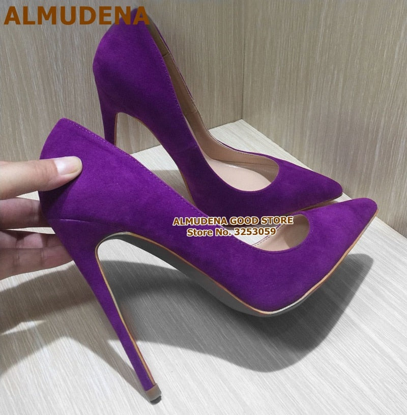 ALMUDENA Suede Pointed Toe Stiletto Heels Slip-on Shoes