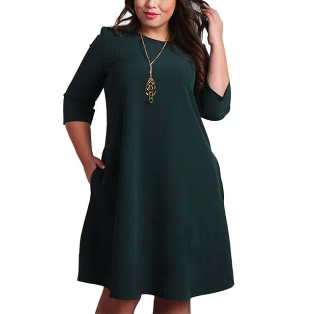 Women's Autumn 3/4 Sleeve Casual Office Party Dresses (L-6XL)