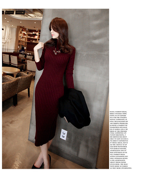 Women Winter Sweater Knitted long Red Midi Dresses (S-L)