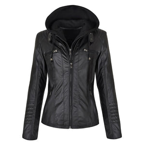 Faux Leather Women Hoodies Jacket