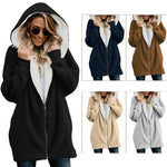 Autumn Winter Women Basic Zipper Hooded Fur Long Coat