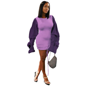 Casual Autumn Winter Fleece Hoodie Dress (S-2XL)