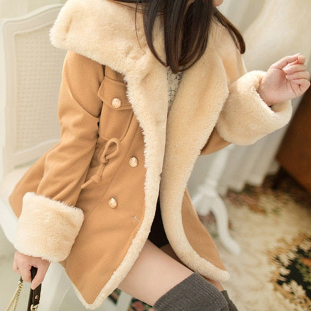 2019 Women Autumn And Winter Thick Double Breasted Coats