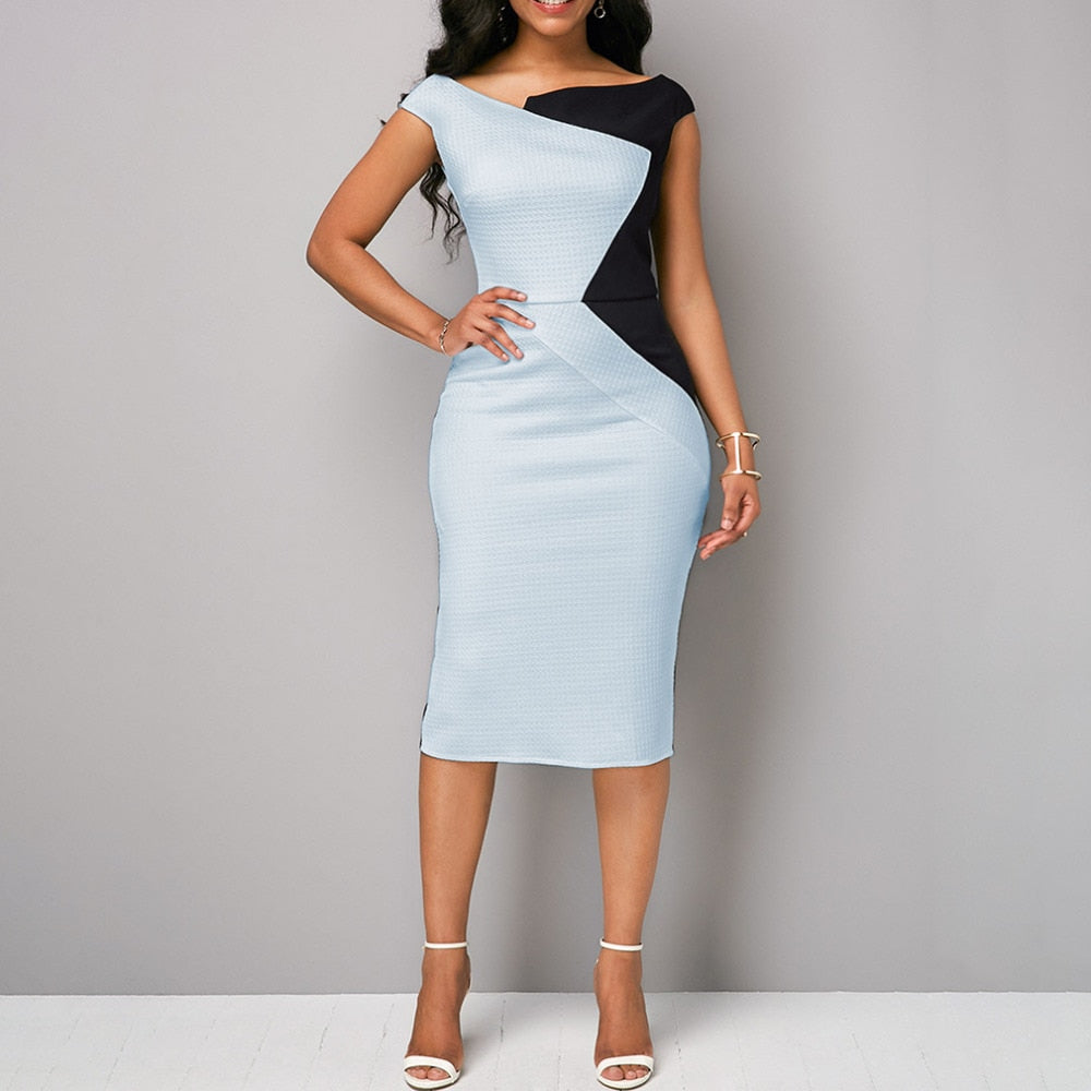 Professional Women Sleeveless Splice Dresses (S-3XL)