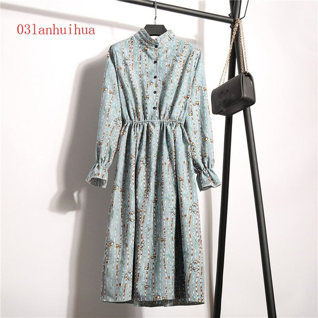 Winter Print Flowers Women's Kawaii Dresses (S-XL)