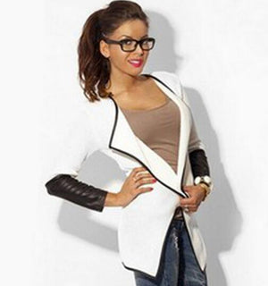 2019 New Fashion Style Black And White Cardigan Jackets Leather Popular