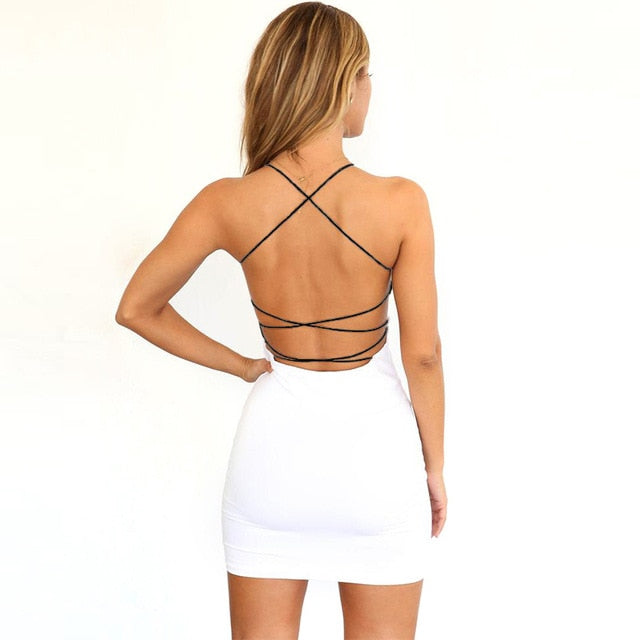 Women Sexy Black  Backless Spaghetti Straps Nightclub Dress (S-2XL)