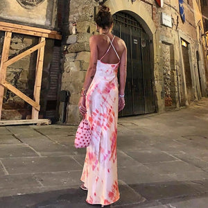 2019 Sexy Bodycon Satin Midi Dressslip high waist neon backless    summer women fashion party elegant sleeveless clothes