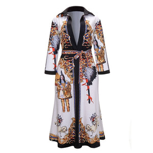 2019 Women'S V Neck Scarf Print Belted Wrap Casual Dress (S-XL)
