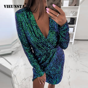 VIEUNSTA Sexy Autumn V-Neck Slit Bodycon Dresses (S-XL)