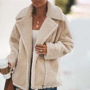 2019 Autumn-Women Winter Soft Warm Plush Jacket