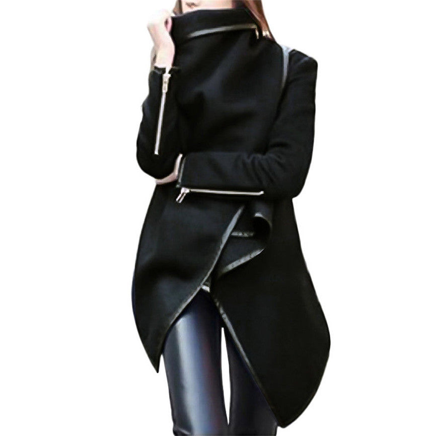 Women's 2019 Winter Bow Zippers Sleeve Long Warm Wool Coat