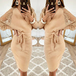 Women 2019 Autumn Winter Sexy Knitted Mini Dress (S-XL)
