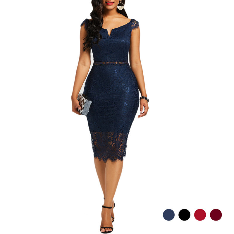 Sexy Women Lace Hollow Backless Dresses (S-3XL)