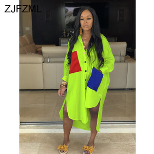 Neon Green Casual Shirt Dresses (S-XXL)