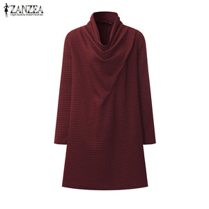 2019 ZANZEA Women's Autumn Vintage Turtleneck Dressse (S-5XL)