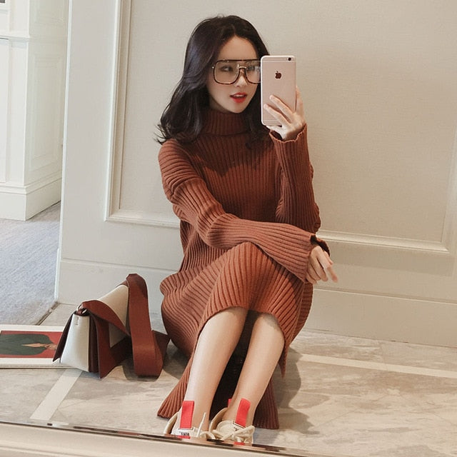 Women Knitted Sweaters Dresses (S-XL)
