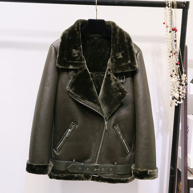New Fashion PU Leather Lamb Hair Motorcycle Clothing Bomber Jacket