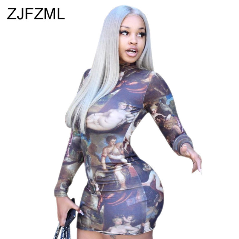 Women's Angel Print Sexy Bodycon Dress (S-2XL)