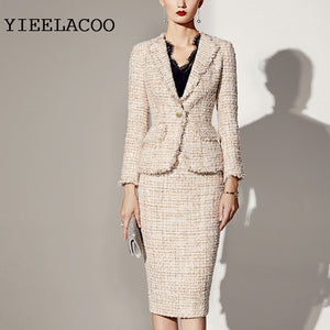 'YIEELACOO' Professional Women's 2 Tweed Piece Suit (xS-2XL)