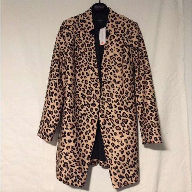 2019 Spring Autumn Fashion Women's Casual Leopard Jacket