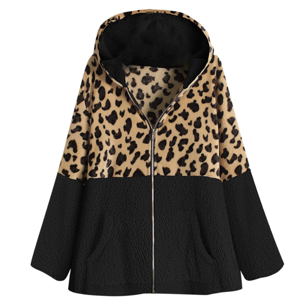 Women Zipper Leopard Fleece Warm