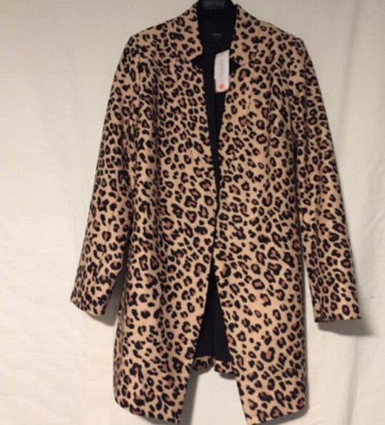 Fashion Women Ladies Mid-length Leopard Print Jackets Coats