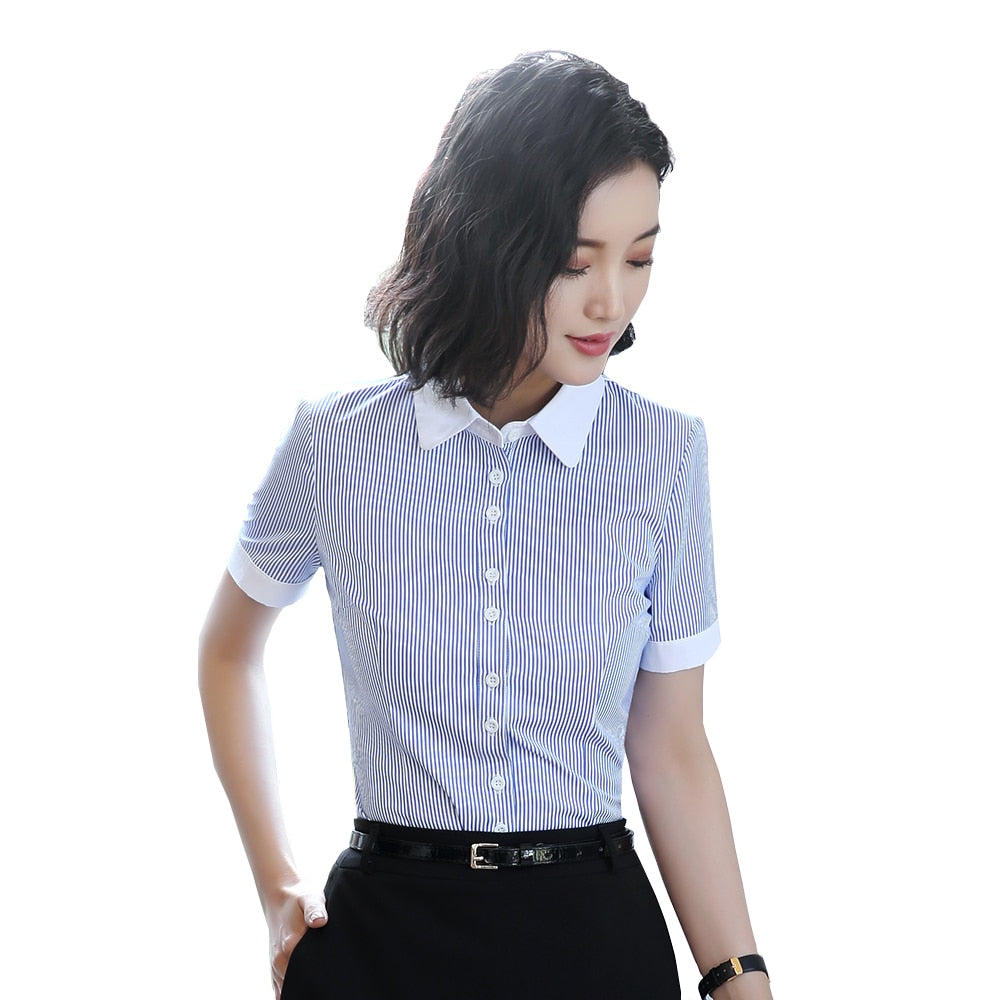 Professional Women: Office Lady's Elegant Blue Slim Chiffon Stripe Blouse (S-4XL)