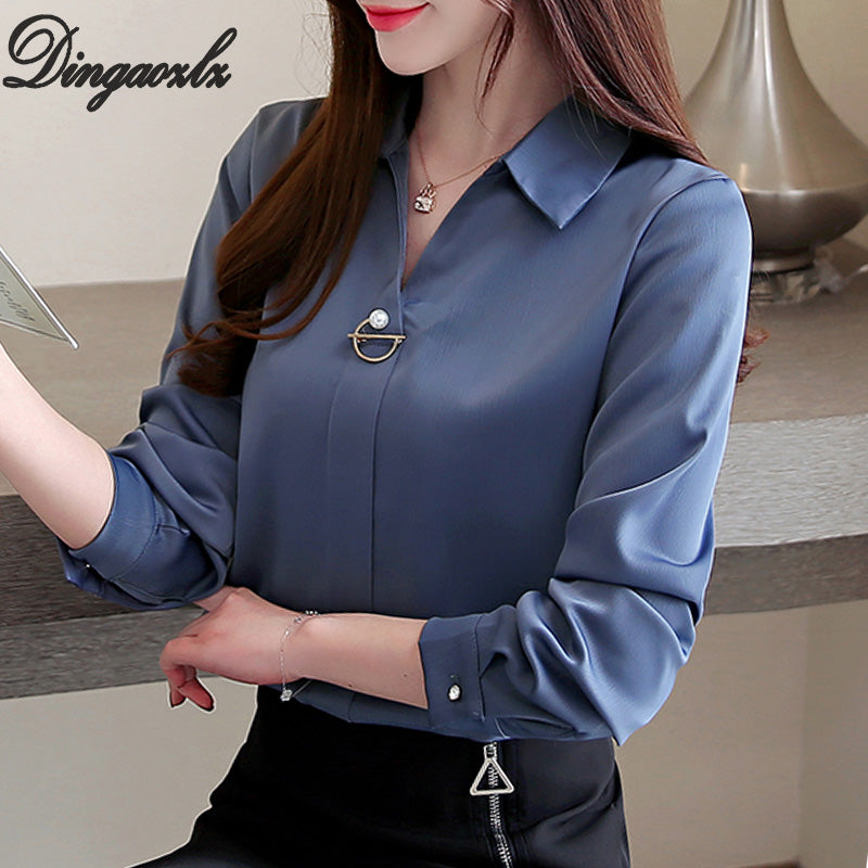 Dingaozlz Elegant Long-Sleeved Professional Lady Blouse  (S-XXL)