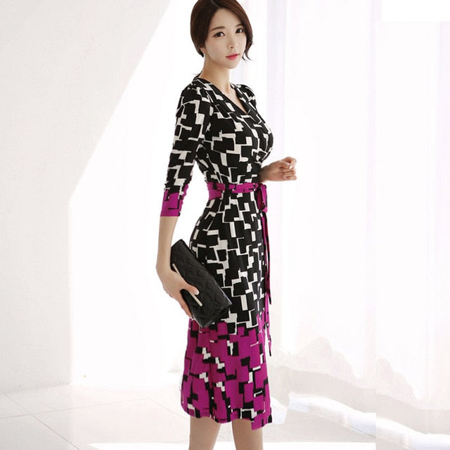 V-neck Slim Tie Waist Fashion Professional Sexy Dress (S-XL)