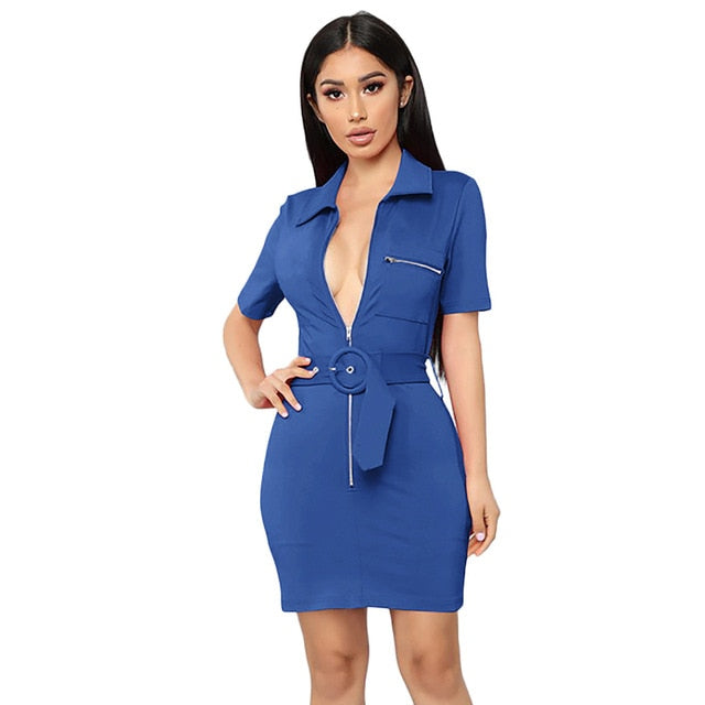 Professional Work Women Lapel Everyday Dress (S-2XL)