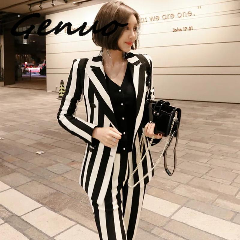 GENUO Professional Double-breasted Warm Striped Two-piece Suit (S-XL)