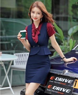 Professional Business Work Wear Sleeveless Mini Dress Suits (S-4XL)
