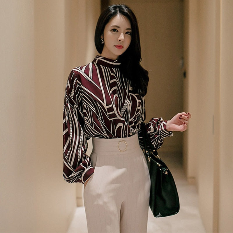 Winter Temperament Printed Shirt Top Fashion Waist Pants Professional Suit (S-XL)