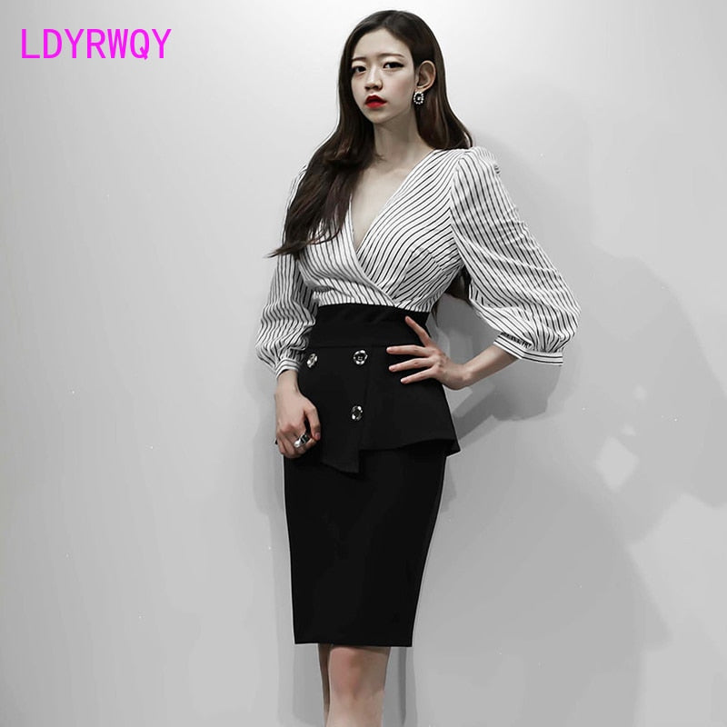 Professional Women's Striped Shirt + Black Skirt Set  (S-XL)