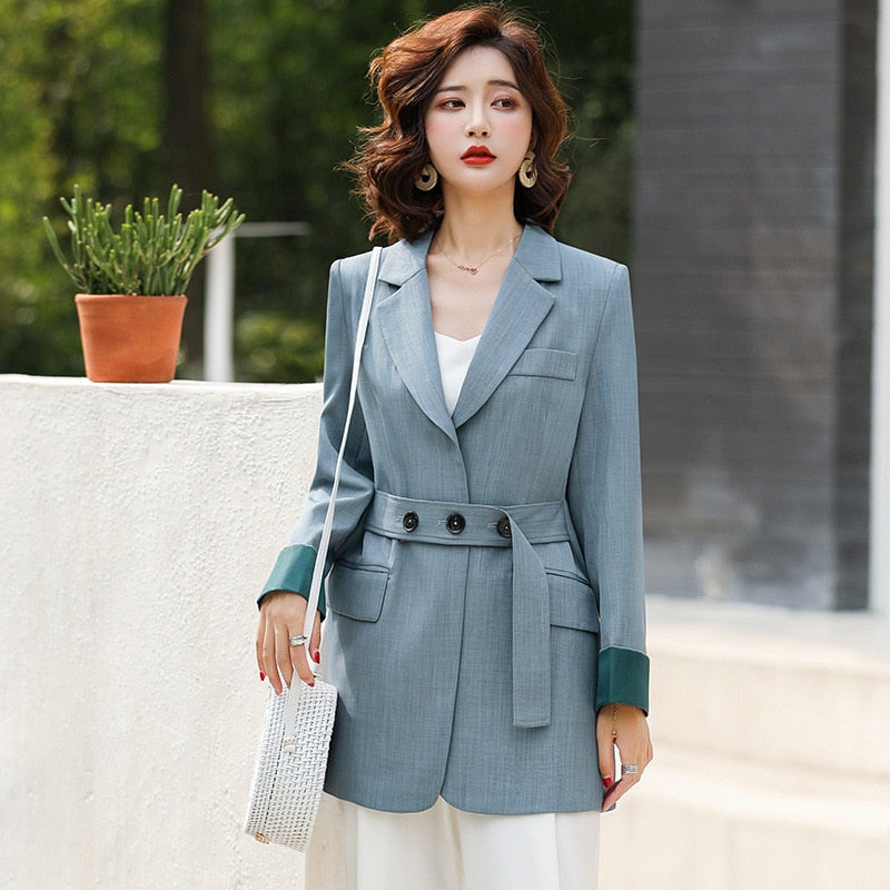 Professional Women Sashes Long Blazer (S-3XL)