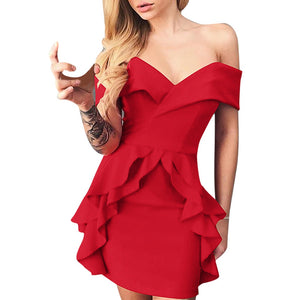 Professional Women Strapless Shoulder Work Mini Dresess (S-2XL)