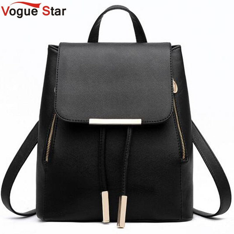 Vogue Star Fashion women backpack  school backpacks for teenage girls women leather backpack school bags mochila LS135