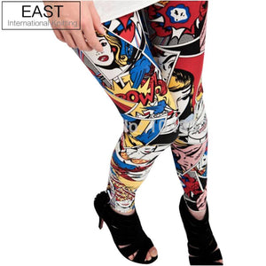 EAST KNITTING New European Adventure Time 2017 Women's Cartoon Girl Graffiti Comic Space Leggings  For Women Spring Pants