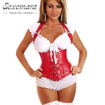 Bustier leather court red women slim sexy  lingerie top corsets body corsage bustier body suit on plus size harness underbust