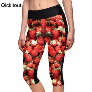 New Hot Sexy Women's 7 point pants women legging Fruit sweet strawberry digital print women high waist Side pocket phone pant