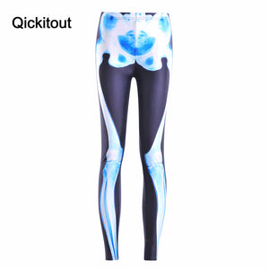 Qickitout Leggings 2016 Summer New Fashion Women Fitness Leggings New Light blue skeleton Pants pencil Trousers Jeggings