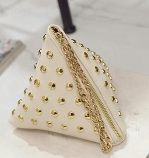 FLYING BIRDS women clutch rivet leather bags Triangular zipper bag ladies purse party bags high quality handbag 2017 LM4361fb