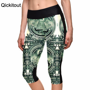 S-XLSexy New Hot Women's 7 point pants women legging Dollar money wealth digital print women high waist Side pocket phone pant