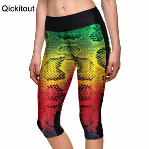 Hot Women's 7 point pants women leggings Color snakeskin pattern strange digital print women high waist Side pocket phone pants