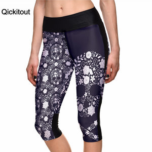 Qickitout Fashion Skull  7 Point Pants Digital Printing Leggings high waist Side pocket phone pant wholesales Drop Shipping
