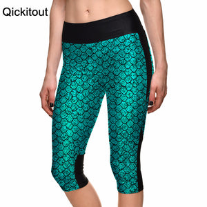 New Hot Sexy Women's 7 point pants women legging Blue scales sexy mermaid digital print women high waist Side pocket phone pant
