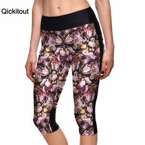 Qickitout 2016 Women's Fashion 7 Point Pants Flower Digital Printing Leggings high waist Side pocket phone pant  Drop Shipping