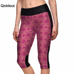Qickitout Drop Shipping Summer Women Fashion Red Leggings Scissor-cut  Digital Print 7 Point Pants high waist Side pocket