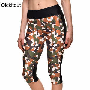 Fashion Sexy Women's 7 point pants women legging Army camouflage green digital print women high waist Side pocket phone pant